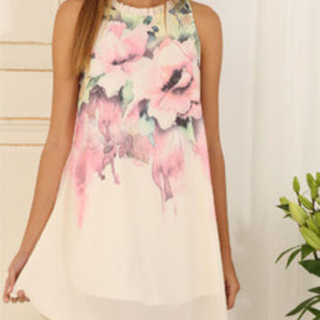 Floral Dress Spring - Multicolour Sleeveless Floral Print Dress