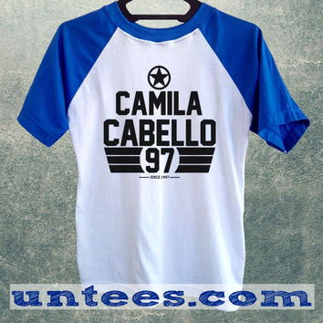 Camila Cabello Fifth Harmony Basic Baseball Tee Blue Short Sleeve Cotton Raglan T-shirt