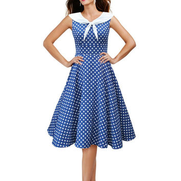 Audrey Hepburn style vintage sailor collar blue dots big swing robe dress women rockabilly prom cocktail 50s dresses vestidos