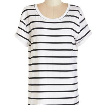 Long Short Sleeves Simplicity on a Saturday Tunic in White Stripes by ModCloth