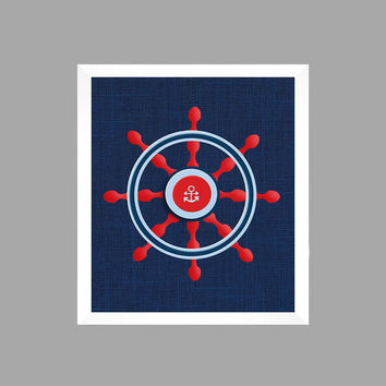 Nautical Nursery Decor Baby Boy Ships Wheel Light Blue Red Navy CUSTOMIZE YOUR COLORS 8x10 Prints Nursery Decor Art Baby Room Decor Kids