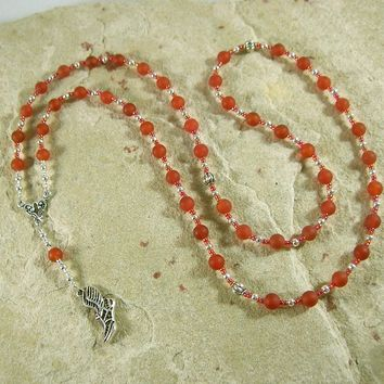 Hermes Prayer Bead Necklace in Carnelian: Greek God of Communication, Commerce, Competition, Diplomacy, Athletics, Travel, and Cleverness