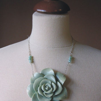 The Victorian Necklace  Seafoam rose by TheButterfliesShop on Etsy