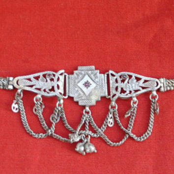 vintage antique tribal old silver armlet bracelet bajuband arm ornament bellydance