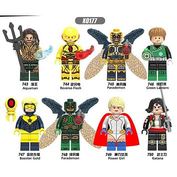 x0177 Green Lantern Reverse-Flash Power Girl Gooster Gold Super Hero Building Blocks Toys Children Gift Toys legoingly X0177
