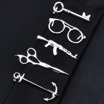 1 Piece Feather Glasses Anchor Mustache Key Shape Silver Metal Tie Clip for Men Tie Bar Crystal Necktie Clips Pin For Mens Gift