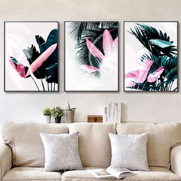 SURE LIFE Europe Fashion Green Leaf Pink Feather Canvas Paintings Printing Wall Art Pictures Poster For Living Room Home Decor