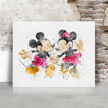 Mickey & Minnie watercolor Print, Disney poster, Disney Art, Mickey and Minnie Wall art,  Art Print poster Gift Home Decor, FamoustarsPrints