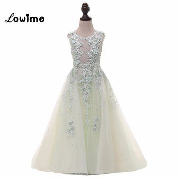 Applique Flower Girl Dresses Vestido Longo Real Image Communion Dresses On Sale Vestido Daminha Girls Dresses 2018 Cheap