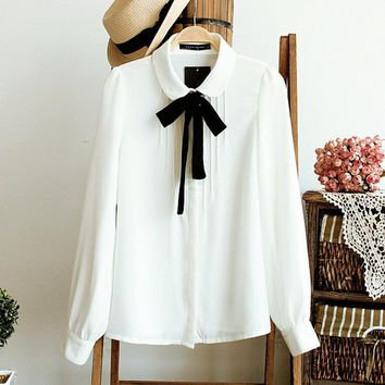 Fashion Female Elegant Bow Tie White Blouses Chiffon Peter Pan Collar Casual Shirt Ladies Blouse
