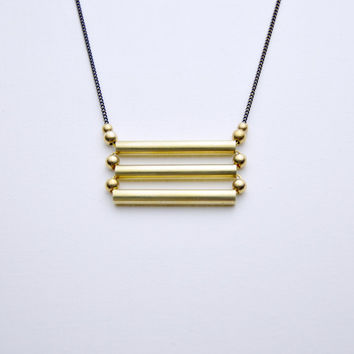 Golden Raw Brass Geometric Bar Ladder Necklace - Modern Raw Brass Jewelry - Black Brass Chain
