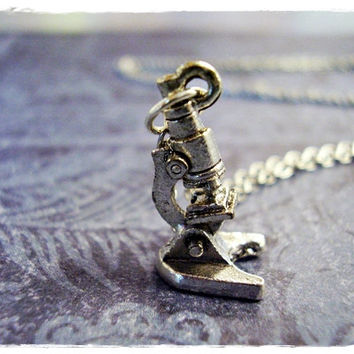 Silver Microscope Necklace - Silver Pewter Microscope Charm on a Delicate 18 Inch Silver Plated Cable Chain