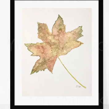 Fall artwork , Leaf print, Original watercolor, Autumn leaf art, nature Plant painting, fall illustration, kitchen art,