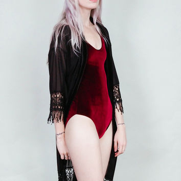 Lovespell - Merlot velvet bodysuit with high cut legs - wine burgundy