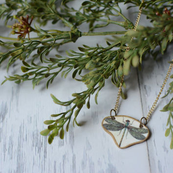 Green Dragonfly Necklace - Dragonfly Pendant Necklace - 19th Century Necklace - Reversible Necklace