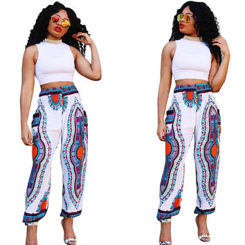 White Vintage Dashiki Hippie Pants