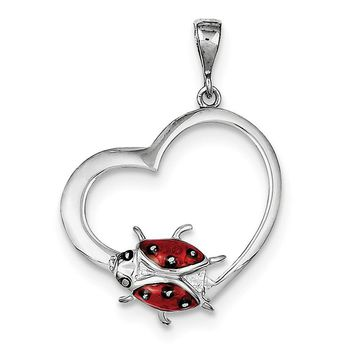 Sterling Silver Heart With Enameled Red Ladybug Pendant