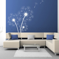 Triple dandelion wall decal, decal, wall sticker, wall graphic ,vinyl decal in white