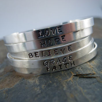 Personalized Stamped Sterling Silver Cuff Bracelet, Hand Stamped, Inspiration Bracelet, Name, Quote, Verse, Date, Believe, Hope, Faith, Love