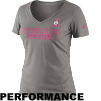 Nike Pittsburgh Steelers Womens Breast Cancer Awareness Crucial Catch Performance V-Neck T-Shirt - Gray