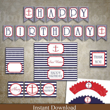 Nautical Birthday Party Package - Anchor Party - Nautical Party Decor