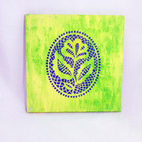 Flower Painting, Canvas Nature Wall Art, Bright Painting, Texture Design, Home Decor, Wall Art, Gift Idea, Blue Green Yellow