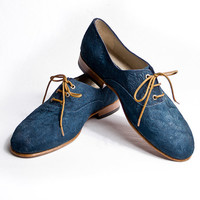 muse blue suede flower pattern oxford shoes FREE by goodbyefolk