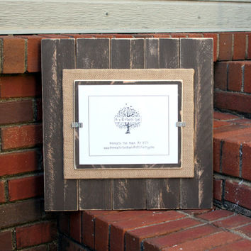 Picture Frame - Distressed Wood - Holds an 8x10 Picture - Chocolate Brown & Burlap