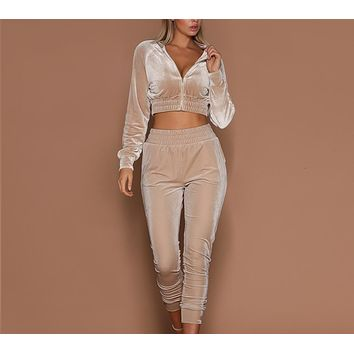 Two Piece Set Women Tracksuit Hoodies Sweatshirt & Pants High Waist Sets Workout Wear Fashion Long Sleeve Zipper Suits