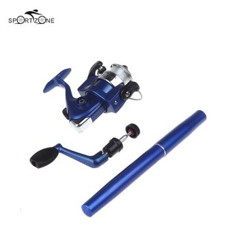 US Stock Mini Pocket Pen Shape Aluminum Alloy Fishing Rod Portable Baitcasting Rods Pole + Fishing Reel Set Combos Pesca