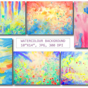 Large watercolor abstract art, watercolor background yellow red blue for instant download for scrapbook, wall art, fabric printing