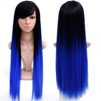 Blue / Black 28'' Long Ombre Colored Wig Heat Resistant Synthetic Wig
