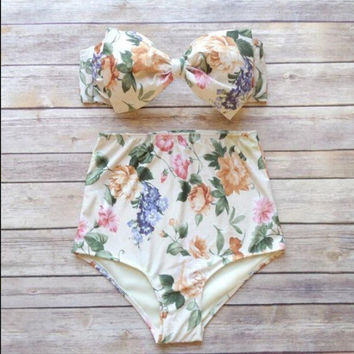 2016 Push up High Waist Swimsuit Women 2015 Floral Print Retro Vintage Sexy Bathing Suit Biquini Plus Size Swimwear Bikini