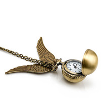 1pcs  Harry Potter pocket Watch Charms Pendant with chain ,watch necklace ,The Golden Snitch