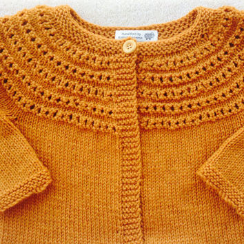 Baby Child 100%  Wool Cardigan Sweater /Girl Size 2 - 4 Year /Knit/ Mustard Yellow/Green/ Pink/ Blue/ Cream/ Red/ Purple