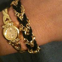 Set of 2 Black and Gold Watch and Bracelet Arm Candy