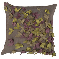 """Applique of Punch Out Dimensional Pattern Gray Pillow Cover (18"""" x 18"""")"""