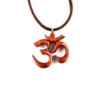 Om Pendant, Om Necklace, Wooden Om Yoga Necklace, Ohm Necklace, Hand Carved Ohm Necklace, Ohm Pendant, Om Yoga Jewelry, Namaste Jewelry