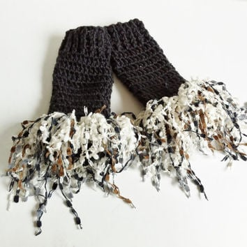 Fingerless Gloves, Dark Gray, Gloves With Fringe,  Crochet Gloves, Wrist Warmers, Charcoal Gray, Knitted Gloves, Black and White, Wristers
