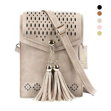 ONETOW Women Small Crossbody Bag, seOSTO Tassel Cell Phone Purse Wallet Bags