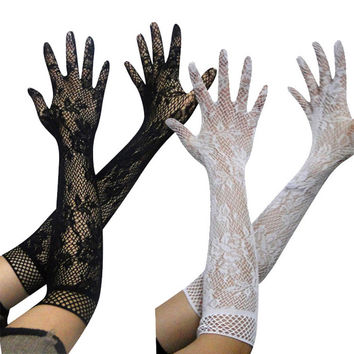 Hot Deal On Sale Sexy Cute Lace Gloves Accessory Transparent Hollow Out Stretch Exotic Lingerie [9157100739]