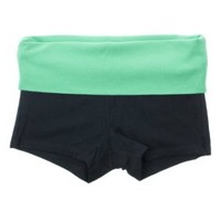 Fold Over Solid or 2 Color Yoga Shorts (Medium, Black/Mint)