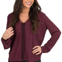 Karlie Women's Burgundy with Crochet Trim V-Neck Blouse