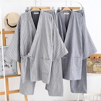 Japanese men's pajamas High Quality 100% cotton Sleepwear men