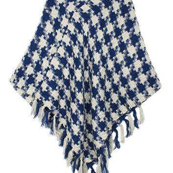 Dahlia Women's Knitted Poncho - V Neck Houndstooth Tassel Cape