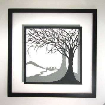 Trees Of Life Wall Art Home Décor Silhouette Paper Cutouts w/ Two Layers of Black and Grey Original Handmade Design Framed Signed OOAK