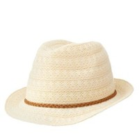 Ivory Braided Band Crochet Fedora Hat by Charlotte Russe