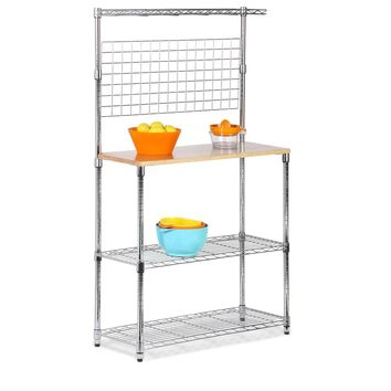 Metal Backers Rack with Storage Shelves and Solid Wood Cutting Board