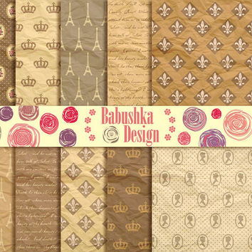 French Style - Set of 10 Digital Paper  - 12 x 12 inches - Scrapbook, Web design, Card making