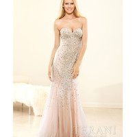 Terani 2014 Prom Dresses - Nude Beaded Strapless Trumpet Gown